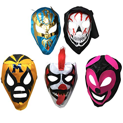- 5PACK Mascaras de Luchador | Assorted Mexican Wrestling Masks | Excellent Costume for Mexican Fiesta| Adult Size Lucha Libre Mask | Traditional Luchador Mask