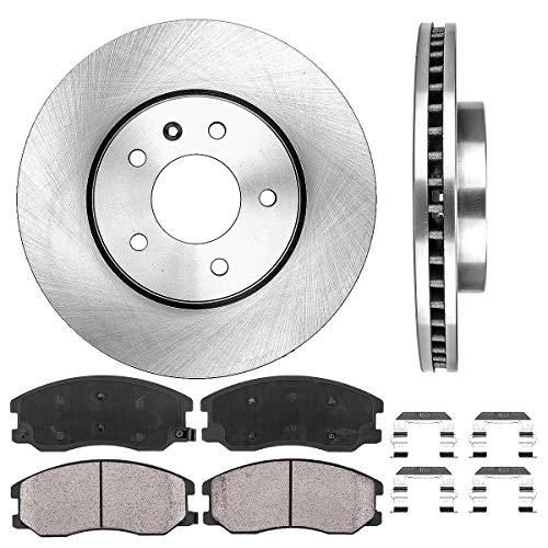 FRONT 296 mm Premium OE 5 Lug [2] Brake Disc Rotors + [4] Ceramic Brake Pads + Clips