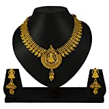 Pourni Traditional Short Necklace Set with Earring Temple Jewellery Necklace Set For Women
