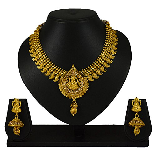 Pourni Traditional Short Necklace Set with Earring Temple Jewellery Necklace Set For Women by Pourni