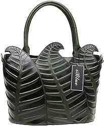 Iblue Leather Embossed Top Handle Purse Work Tote Satchel Handbag 12in #W353 (L, green-rose)