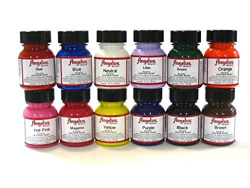 Angelus Brand Acrylic Paint Starter Kit 12 1oz Leather Vinyl Sneaker