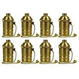 AAF On-Off Pull Chain Light Socket, Copper Polished Brass Finish Screw Lamp Holder, Pack of 8