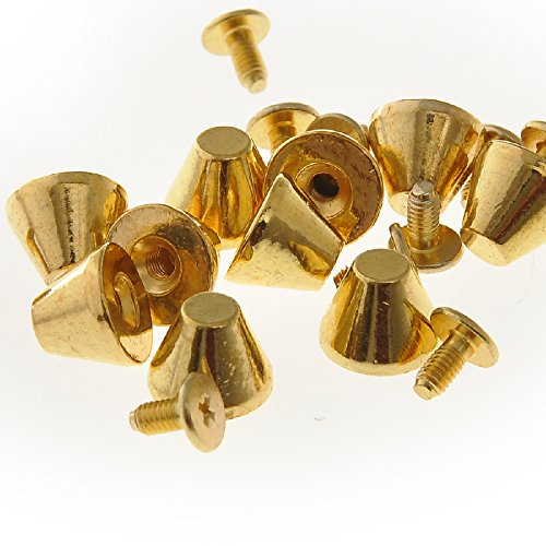 Gold Metal Spike (RUBYCA 30 Sets Gold Color 8MM Big Mushroom Studs and Spikes Metal Screw-Back Leather-Craft DIY 8mm)