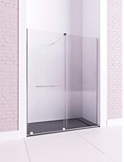 Mampara de ducha frontal - de 1 hoja fija y 1 puerta corredera - Cristal 6 mm con ANTICAL INCLUIDO - Modelo COSMOS (de 171-180 cm, Fijo a Izquierda): Amazon.es: Bricolaje y herramientas