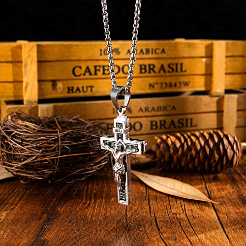 Wowsweet 14K Gold Plated Catholic Jesus Stainless Steel Cable Chain Necklaces Crucifix Cross Pendant for Men Women (Silver A)