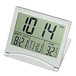 Portable Travel Folding Thin LCD Display Electronic Digital Desk Table Alarm Clock Calendar Thermometer Silver