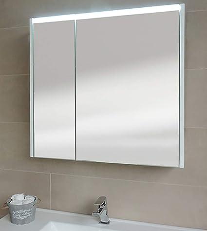 Specchiera specchio bagno pensile contenitore 2 ante, fascia led, cm ...