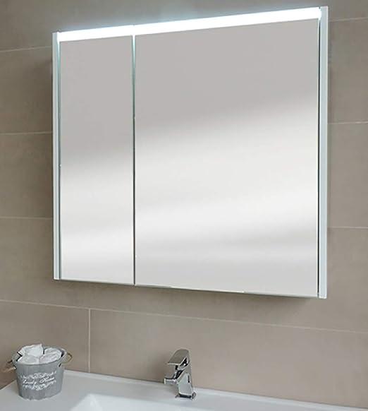 Specchio Bagno Contenitore Led.Specchiera Specchio Bagno Pensile Contenitore 2 Ante Fascia Led
