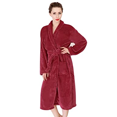 Image Unavailable. Image not available for. Color  Women Ladies Fleece Robe  Dressing Gown Soft Shawl Pajamas ... 7ff0d996d