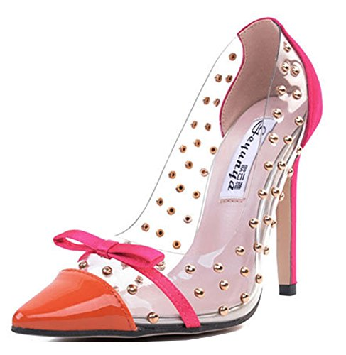 Sexy Transparent Escarpins Aisun Noeud Orange Rivets Femme wRnq5B