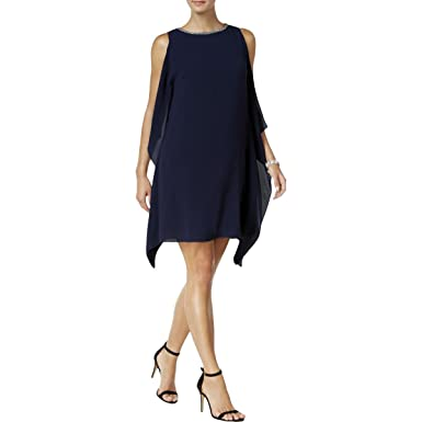 Vince Camuto Womens Embellished Side-Ruffle Party Dress Navy 4 at ... 82e69cc755