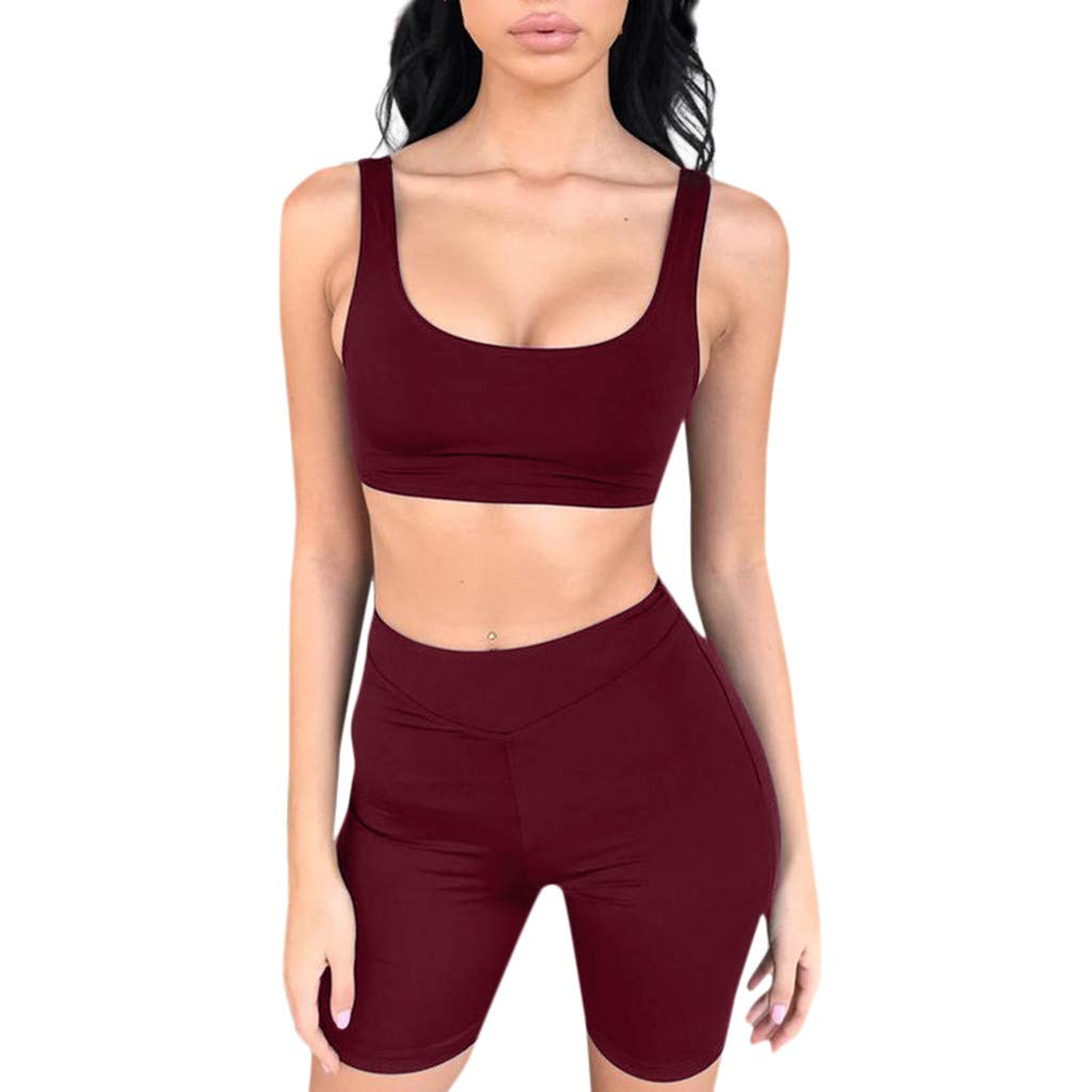NUWFOR Women Tank Top Clothes Tank Sleeveless Crop Top Bra Backless Vest Tank Clothing (Wine Red,US XXL Bust:36.2-40.9'')