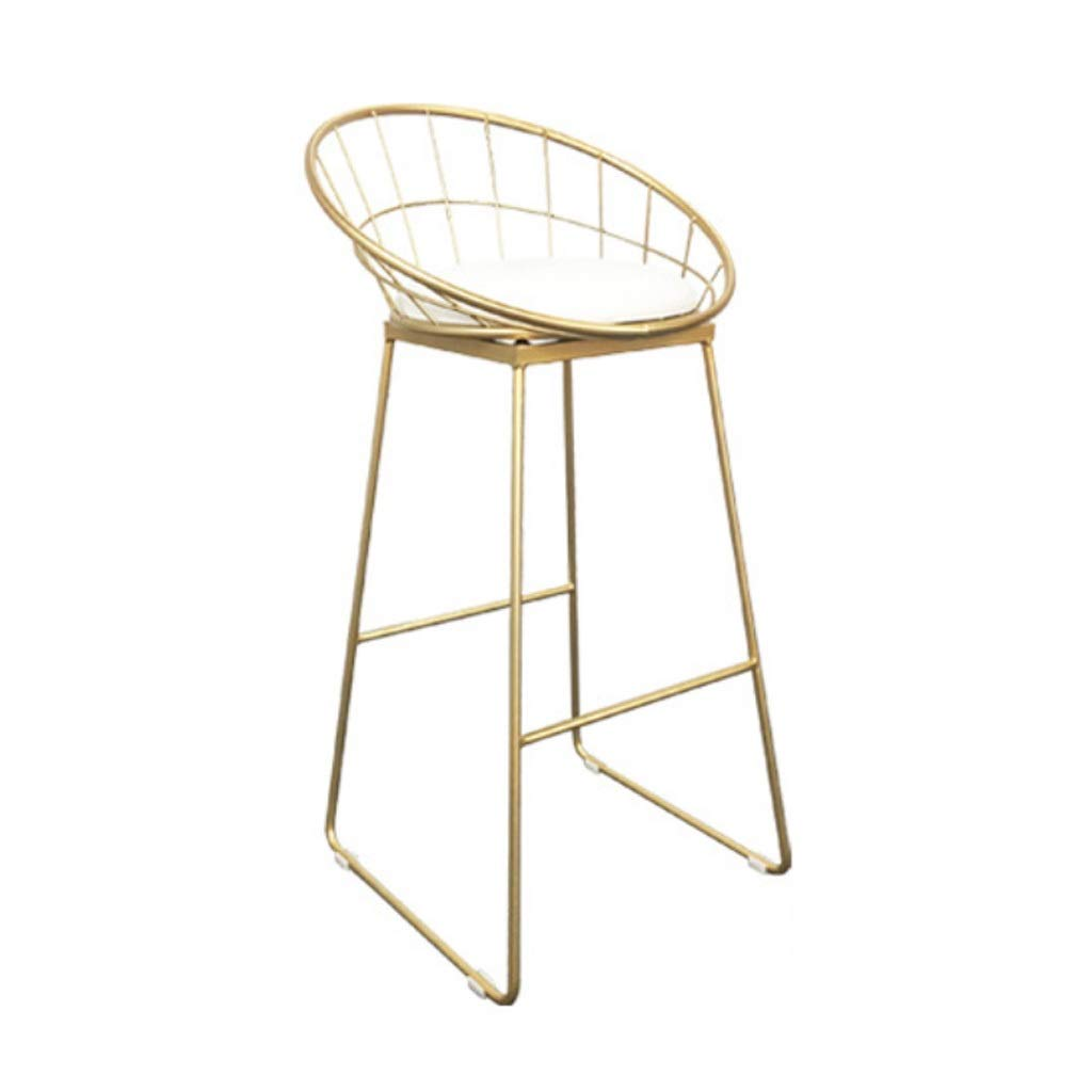 gold 75CM Simple Retro Wrought Iron Bar Chair Fabric Dining Stool Modern High Stool Leisure Decoration Stool Home for Kitchen Or Bar (color   gold, Size   75CM)