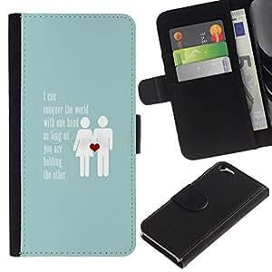 All Phone Most Case / Oferta Especial Cáscara Funda de cuero Monedero Cubierta de proteccion Caso / Wallet Case for Apple Iphone 6 // amor azul bebé pareja inspirador corazón