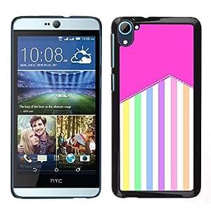 // PHONE CASE GIFT // Duro Estuche protector PC Cáscara Plástico Carcasa Funda Hard Protective Case for HTC Desire D826 / Stripes Pattern Pastel Colorful Happy /