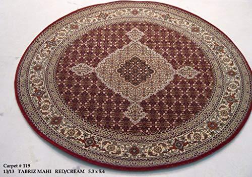 New Round Burnt Sienna Rug 5' x 5' Mahi Wool & Silk Indian Hand-Knotted Rug (Wool Sienna Burnt Rug)