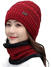 Akuna.Sun Winter Girl Knitted hat.Scarf.2-Pieces. (Wine red), S / M