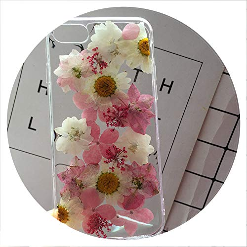 Real Pressed Dried Flowers Phone Case for iPhone Xs Max XR 6 6s 7 8 Plus X Silicon TPU Clear Floral Cover Cases Fundas,V,for 7Plus 8Plus (Iphone 6 Diet Coke Case)