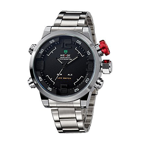 Time Mens White Dial (Weide Mens Sports Black Dial Dual Time Display Stainless Steel Wrist Watch)