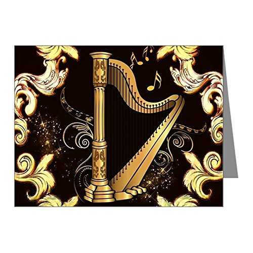 CafePress - Music, Golden Harp With Decorative Floral Elements - Blank Note Cards (Pack of 20) Matte (Harp Notes)