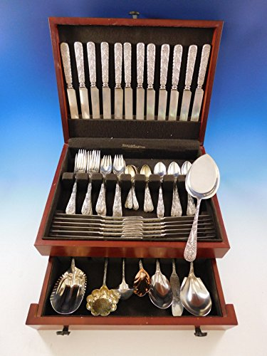 Frosted Pie Server - Antique Custom Engraved by Tiffany Sterling Silver Flatware Set Service 80 pcs