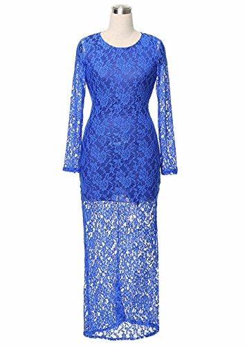 La manga larga para mujer Backless ahueca hacia fuera el vestido largo atractivo del cordón Azul