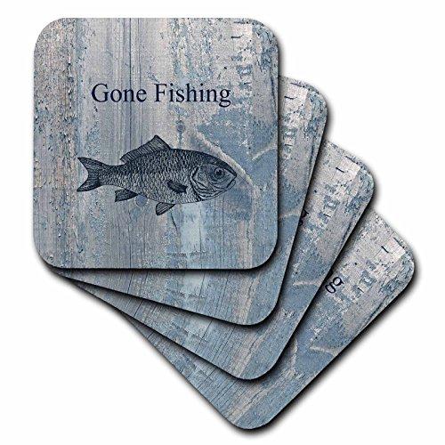 3dRose Gone Fishing White Wash Wood Look Beach Theme Art - Soft Coasters, Set of 8 (cst_123416_2)