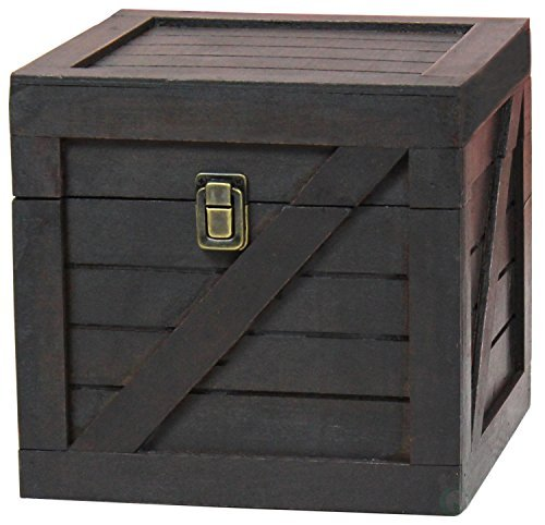 Vintiquewise QI003251.B B Wooden Stackable Lidded Crate (Black)