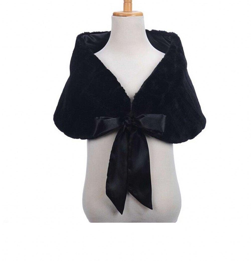Sweetdresses Little Girl Faux Fur Shawl Stole Wedding Party Wrap (One Size, Black)