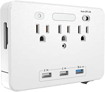 3 AC Outlet Socket Wall Mount Surge Protector,Multi-Outlets Power Wall Socket Outlet With Quick Charger 3 USB Ports and 2 Slide Out Phone Holders,Screw Included