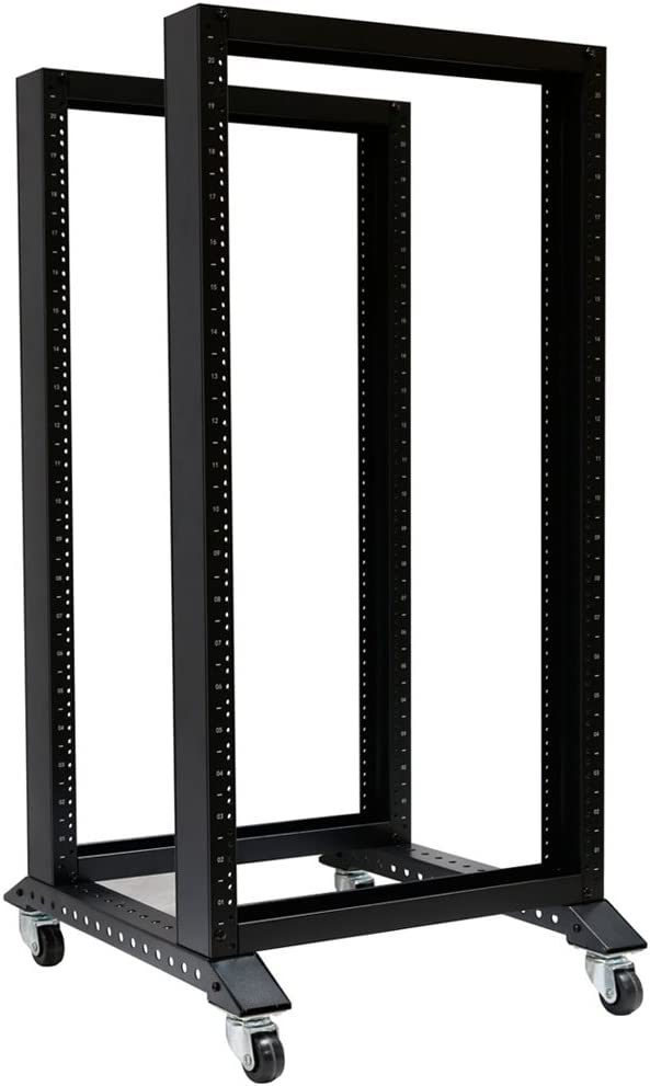 RAISING ELECTRONICS Open Rack 28U 4 Post Open Frame 19-Inch Data Network Desktop Server/Audio Rack