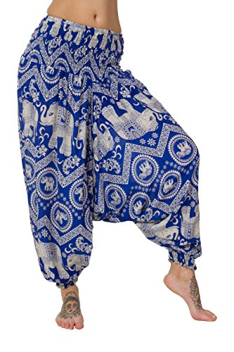 ThaiUK - Pantalón de tiro bajo para mujer Elephant Light Blue