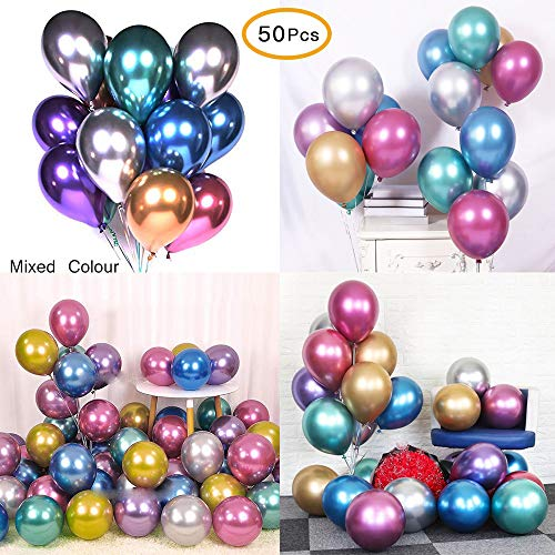 Chrome Metallic Balloons for Parties 12 inch 50 Pcs Thick Latex balloons for Birthday Wedding Engagement Anniversary Christmas Festival Picnic or Any Family Party Decorations Supplies-Metallic Balloon
