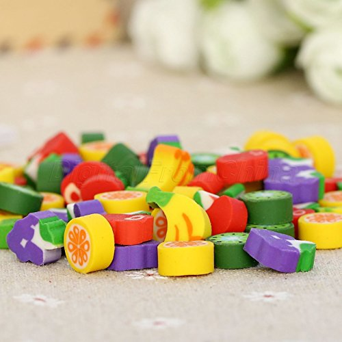 [Kid Prize Gift Toy Cute Mini Fruit Shaped Rubber Pencil Eraser Stationery X100] (Halloween Pull Apart Cupcakes)