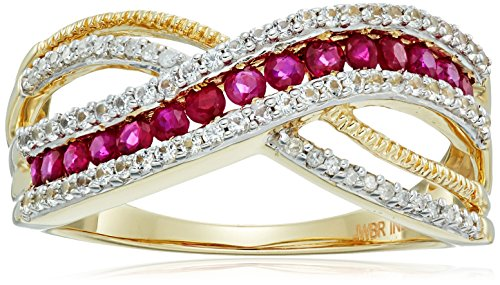 10k Yellow Gold Genuine Burmese Ruby Round with Genuine White Sapphire and White Diamond Accent Fashion Ring, Size 7