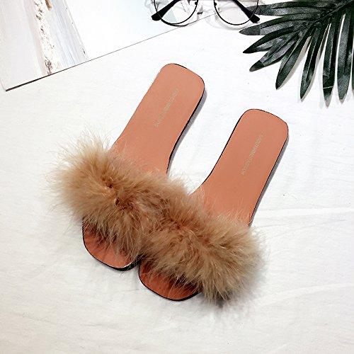 Estate habuji pantofole con bassa-sbandata estate moda femminile personalità bassa marea con una marea, 36, colore marrone chiaro