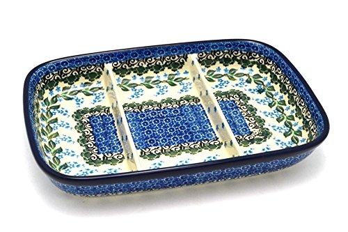 Polish Pottery Dish - Divided Rectangular - Wisteria