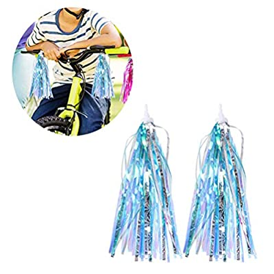 Garneck Bicycle Tassel Ribbon Scooter Handlebar Streamers Bicycle Grips Ribbon Easy Attach to Bikes Handlebars for Kids Children 4pcs (Blue Silver) : Sports & Outdoors