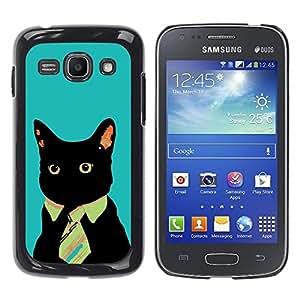 YiPhone /// Prima de resorte delgada de la cubierta del caso de Shell Armor - Business Cat Blue Painting Art Funny - Samsung Galaxy Ace 3 GT-S7270 GT-S7275 GT-S7272