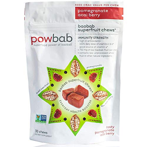 powbab Baobab Superfruit Chews® – with 750mg Raw Antioxidant Baobab Powder Organic, 100% Antioxidants Immune Booster Superfood for Cold Season Anti Aging, Non-GMO, Gluten Free. 30 Chews