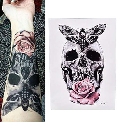 Yangll Nuevo Cráneo con Polilla Y Flor Cool Beauty Tattoo ...