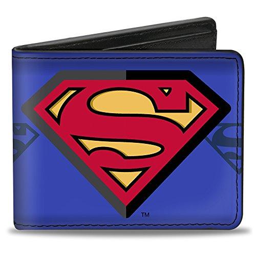 - Buckle-Down PU Bifold Wallet - Superman Shield Centered/Shield Stripe Blues