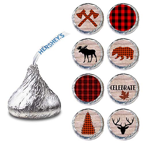 Lumberjack Label for HERSHEY'S KISSES® chocolates - Plaid Rustic Party Candy Stickers - Set of 240