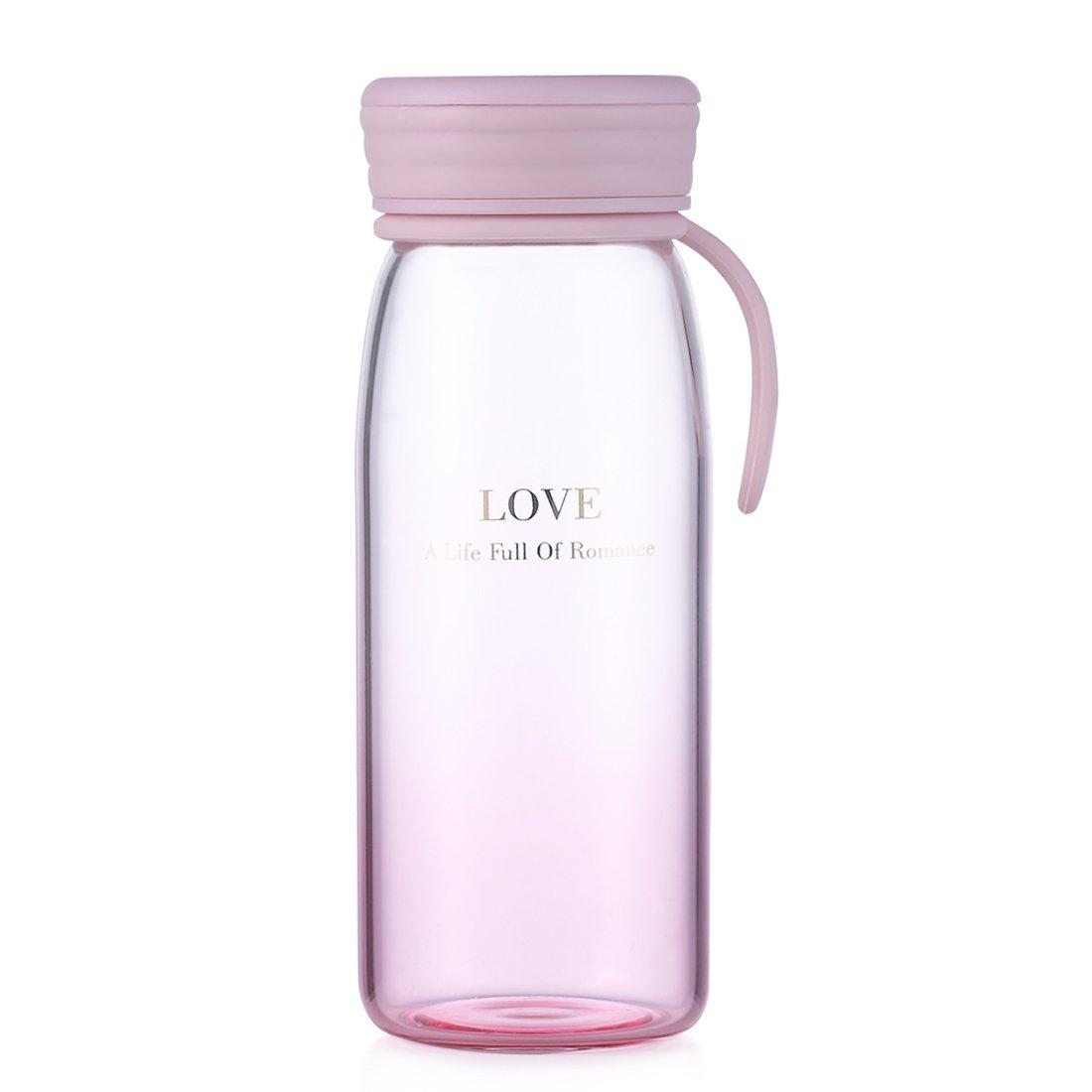 HOLD U FUN 400ML//13.5oz Travel Glass Water Bottle,Colorful Sport Leak-Proof Milk Cup,Outdoor Glass Drinkware for Girls/&Kids,Lovely Mug Lovely Mug QuanJinRui Trading Co Blue Ltd.