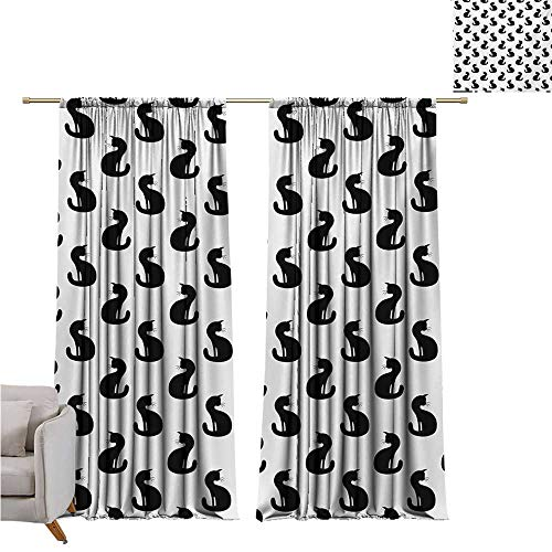 Cat,Blackout Drapes Silhouette of a Kitten Monochrome Feline Pattern House Pet Illustration Halloween W108 x L84 Print Curtain ()