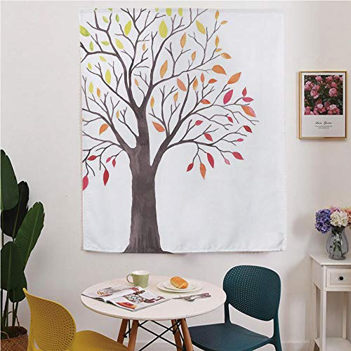 (Apartment Decor Blackout Window curtain,Free Punching Magic Stickers Curtain,Forest Tree with Modern Structure Leaves and Branches Cartoon like Print,for Living Room,study, kitchen, dormitory,)