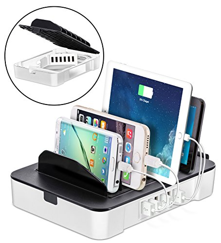 Okra USB Charging Station for Multiple Devices, 6 Port USB Wall Charger Charging Hub with Docking Station Organizer for Phone Tablet iPhone iPad (White)