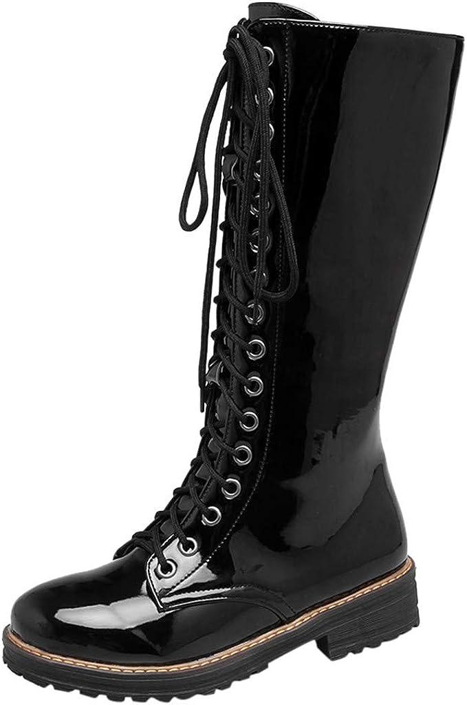 Luckycat Botas Militares para Mujer Botas Altas para Mujer Botas para Mujer De Cuero Planos Largo Botas Altas Las Rodillas Alto Otoño Cremallera Zapatos De Mujer Moda Cómodos