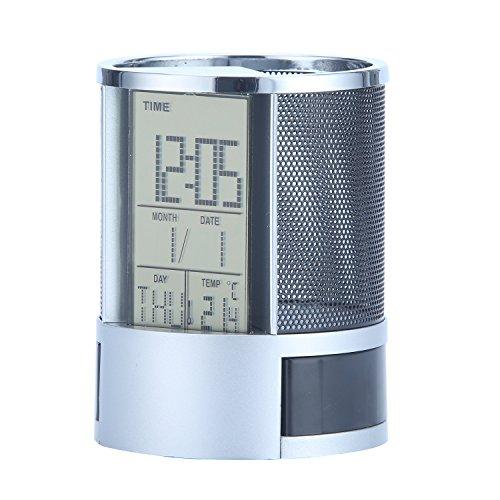 Clock Cup Pen (Umiwe Multifunctional Digital LED Desk Alarm Clocks Mesh Pen Pencil Holder Calendar Timer Temperature (Black))
